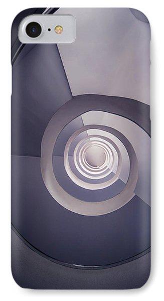 Spiral Staircase In Plum Tones IPhone Case by Jaroslaw Blaminsky