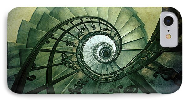 IPhone Case featuring the photograph Spiral Stairs In Green Tones by Jaroslaw Blaminsky