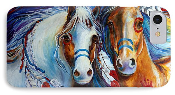 Spirit Indian War Horses Commission IPhone Case by Marcia Baldwin