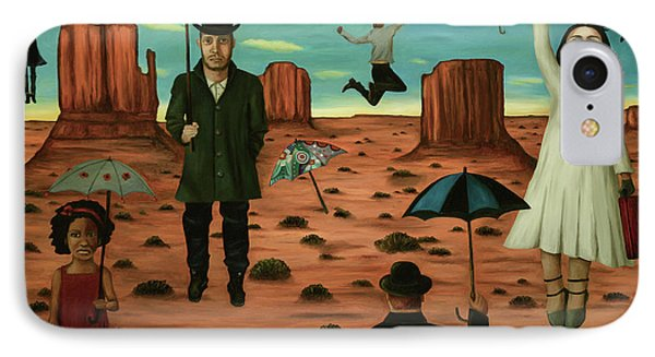 IPhone Case featuring the painting Spirits Of The Flying Umbrellas 3  by Leah Saulnier The Painting Maniac