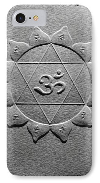 IPhone Case featuring the relief Spiritual Om Yantra by Suhas Tavkar