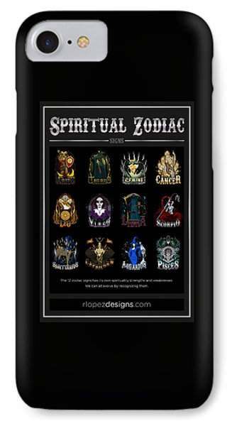 IPhone Case featuring the digital art Spiritual Zodiac Signs by Raphael Lopez