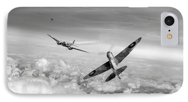 IPhone 7 Case featuring the photograph Spitfire Attacking Heinkel Bomber Black And White Version by Gary Eason