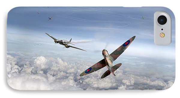 IPhone 7 Case featuring the photograph Spitfire Attacking Heinkel Bomber by Gary Eason