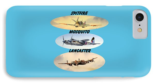 IPhone Case featuring the painting Spitfire Mosquito Lancaster Aircraft With Name Banners by Bill Holkham