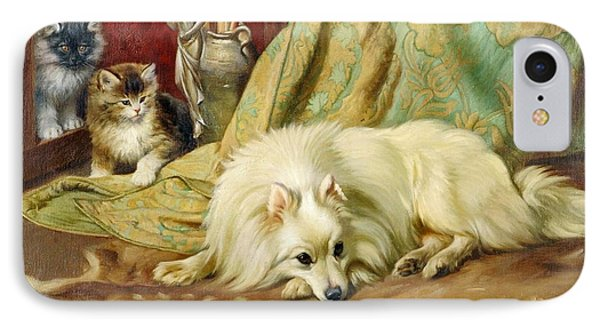 Spitz Dog With Two Kittens Beside  IPhone Case by MotionAge Designs