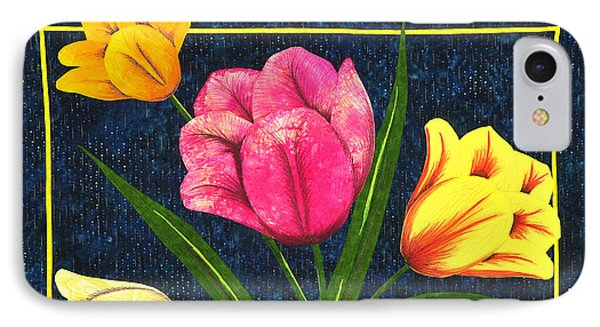 IPhone Case featuring the tapestry - textile Splash Of Tulips by Jo Baner