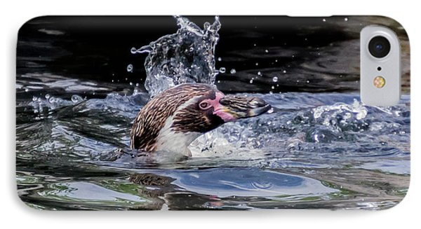 IPhone Case featuring the photograph Splashing Humboldt Penguin by Scott Lyons