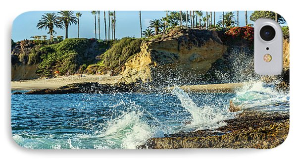 Splashing Waves And Nice Beach IPhone Case by Kelley King
