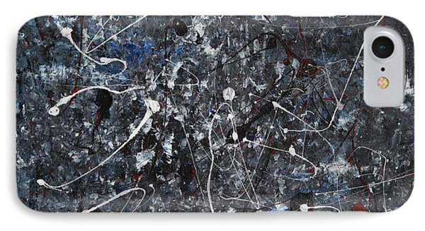 IPhone Case featuring the painting Splattered - Grey by Jacqueline Athmann