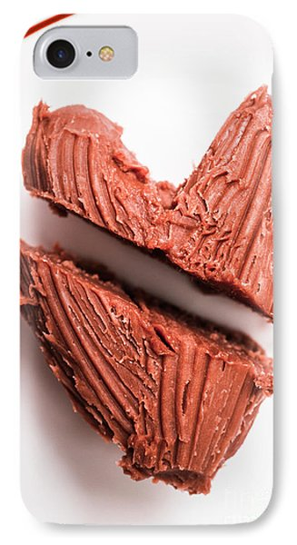 Split Hearts Chocolate Fudge On White Plate IPhone Case by Jorgo Photography - Wall Art Gallery