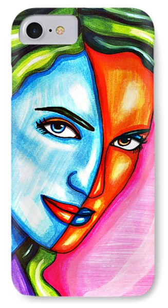 Split Personality Woman Abstract Drawing IPhone Case