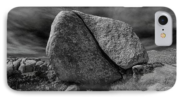 IPhone Case featuring the photograph Split Rock In Black And White At Joshua Tree National Park by Randall Nyhof
