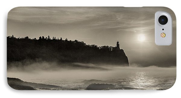 IPhone Case featuring the photograph Split Rock Lighthouse Emerging Fog by Rikk Flohr
