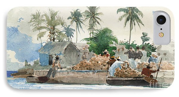 Sponge Fisherman In The Bahama IPhone Case by Winslow Homer