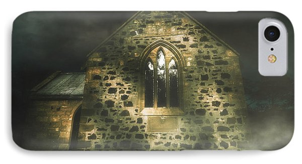 Spooky Stone Church In A Haunted Winters Night IPhone Case