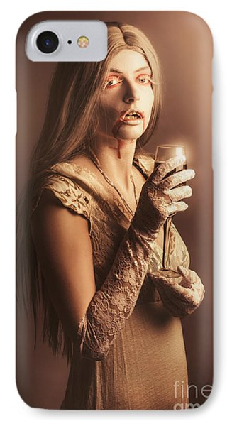 Spooky Vampire Girl Drinking A Glass Of Red Wine IPhone 7 Case by Jorgo Photography - Wall Art Gallery