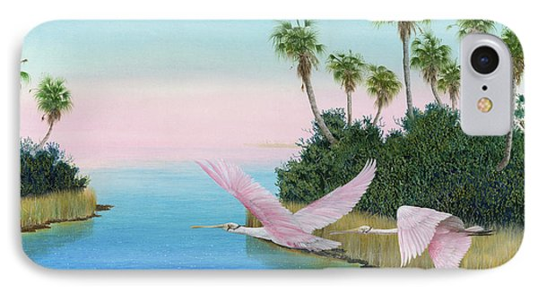 Spoonbills In Flight Phone Case by Kevin Brant