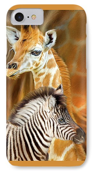 IPhone Case featuring the mixed media Spots And Stripes - Giraffe And Zebra by Carol Cavalaris