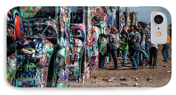 IPhone Case featuring the photograph Spray Paint Fun At Cadillac Ranch by Randall Nyhof