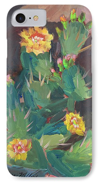 IPhone Case featuring the painting Spring And Prickly Burst Cactus by Diane McClary