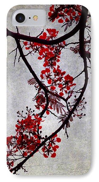 Spring Bloosom In Maldives. Flamboyant Tree II. Japanese Style IPhone Case by Jenny Rainbow
