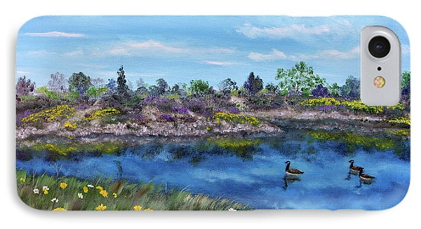 Spring Daisies At Los Gatos Lake IPhone Case by Laura Iverson