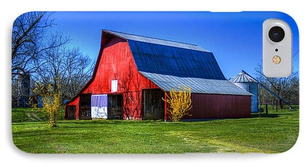 Spring Has Sprung Red Barn Tennessee Farm Scene Art IPhone Case by Reid Callaway
