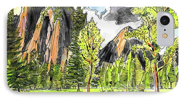 IPhone Case featuring the painting Spring In Yosemite by Terry Banderas