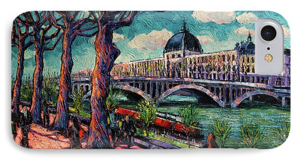 Spring On The Banks Of The Rhone - Lyon France - Modern Impressionist Oil Painting By Mona Edulesco IPhone Case by Mona Edulesco