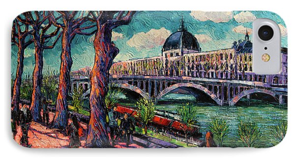 Spring On The Banks Of The Rhone - Lyon France - Modern Impressionist Oil Painting By Mona Edulesco IPhone Case
