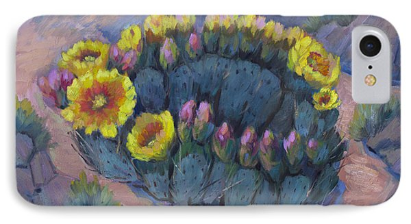 Spring Prickly Pear Cactus IPhone Case by Diane McClary