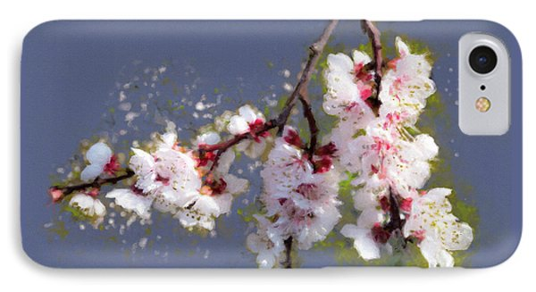 IPhone Case featuring the painting Spring Promise - Apricot Blossom Branch by Menega Sabidussi