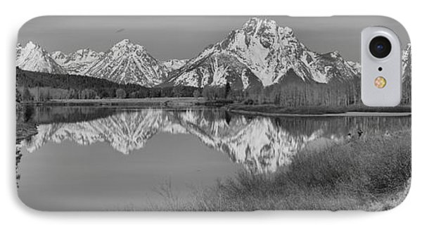 Spring Reflections At Oxbow Bend Black And White IPhone Case by Adam Jewell