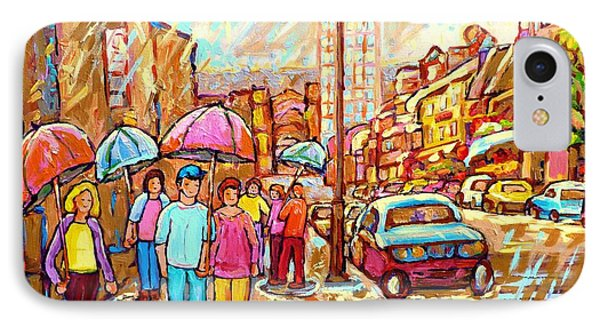 Spring Showers In The City Rainy Umbrella Day Canadian Street Scene Painting Carole Spandau          IPhone Case by Carole Spandau