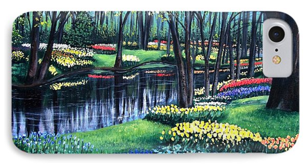 IPhone Case featuring the painting Spring Splendor Tulip Garden by Patricia L Davidson