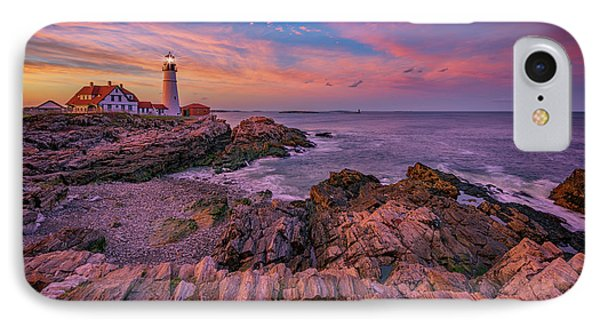 Spring Sunset At Portland Head Lighthouse IPhone Case by Rick Berk
