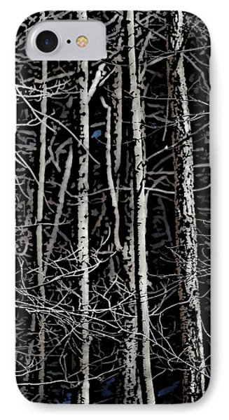 Spring Woods Simulated Woodcut Phone Case by David Lane