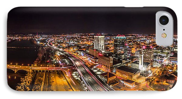 IPhone Case featuring the photograph Springfield Massachusetts Night Long Exposure Panorama by Petr Hejl