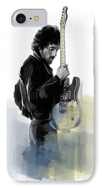 Springsteen Bruce Springsteen IPhone Case by Iconic Images Art Gallery David Pucciarelli