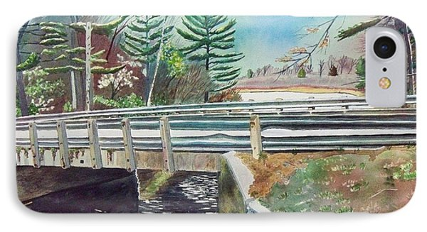 IPhone Case featuring the painting Springtime At Bass Lake Bridge by LeAnne Sowa