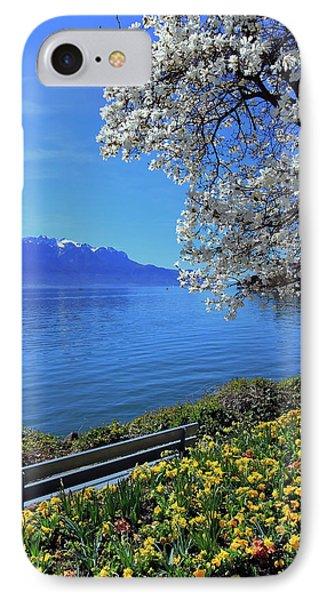 Springtime At Geneva Or Leman Lake, Montreux, Switzerland IPhone Case by Elenarts - Elena Duvernay photo
