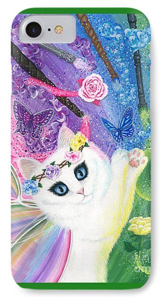 IPhone Case featuring the painting Springtime Magic - White Fairy Cat by Carrie Hawks