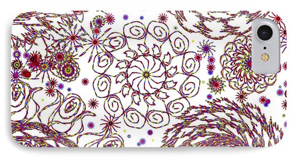 Spun Floral Red 4 IPhone Case by Catherine Lott