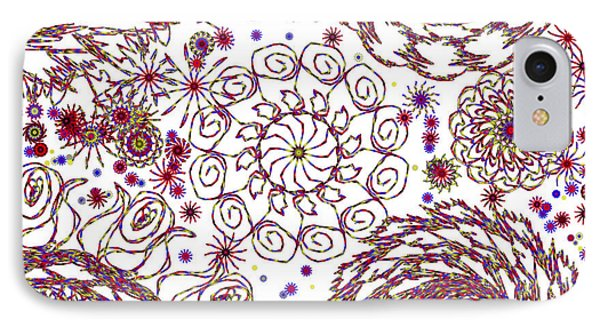 Spun Floral Red 5 IPhone Case by Catherine Lott