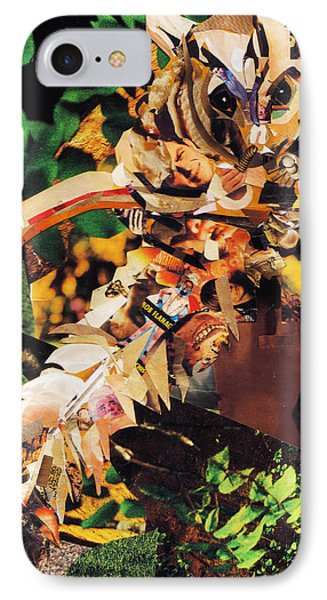 IPhone Case featuring the mixed media Squirrel Glider Collage by Shawna Rowe