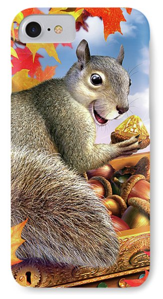 Squirrel Treasure IPhone Case by Jerry LoFaro