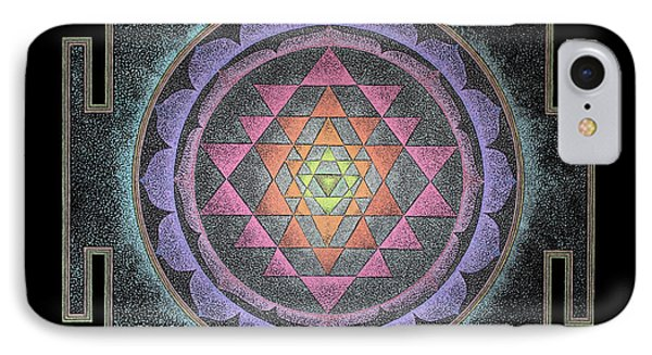 IPhone Case featuring the painting Sri Yantra by Keiko Katsuta