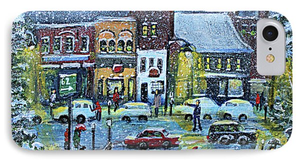 Snowing In Concord Center IPhone Case by Rita Brown