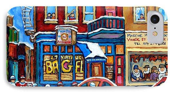 St Viateur Bagel Mehadrins  Kosher Meat Market Hockey Art Montreal Memories Carole Spandau           IPhone Case by Carole Spandau